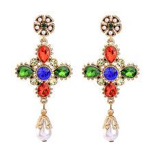 Boucles d`Oreilles Clous Doré Chandelier Croix Multicolore Bleu Vert Perle XX19