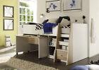 Hochbett Jugendbett Kinderbett Bett Etagenbett Stockbett Schreibtisch Eiche Weiß günstig