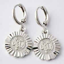 Arab Pattern Allah Womens white Gold Filled/925 Silver Dangle Earrings