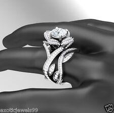 Flower Rose Lotus White Moissanite Diamond 925 Silver Engagement Bridal Ring Set