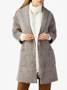 *BNWT* PURE COLLECTION grey taupe shawl collared winter coat UK 14 wool blend