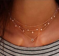 Crystal Star Necklace Gold Multilayer Fashion Necklace Jewelry Beautiful