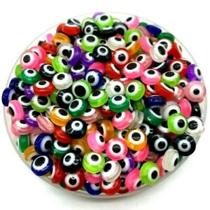 Evil Eye Beads Oval Shape Stripe Spacer Beads For Jewelry Making DIY Charm 50pcs