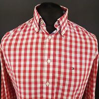 Tommy Hilfiger Mens Shirt SMALL Long Sleeve Red Custom Fit Check Cotton
