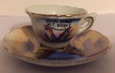 Vintage Miniature Tea Cup and Saucer Royal Gorge Colorado Souvenir Set Japan