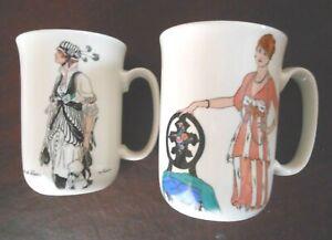 "Villeroy & Boch DESIGN 1900 Mugs Art Deco Mugs, TWO (2) 4 1/4"" tall"