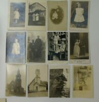 Vintage Postcards REAL PHOTO Children Adults Structures Churches Lot of 21