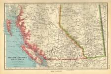 Antique Map 1947 Bartholomew British Columbia and Alberta, Dominion of Canada