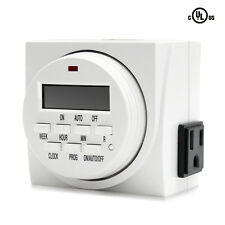 VIVOSUN Dual Outlet Digital Timer 7-Day On/Off Switch for Hydroponic Lamp Light