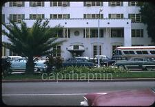 Old Cars Queen City Trailways Bus in Front of Hotel Miami? Vtg 1950s Slide Photo