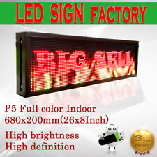 "8""x 26"" Full Color Video P5 HD LED Sign Programmable Scrolling Message Display"