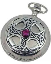 Woodford Celtic Cross Mechanical Chrome/pewter Double Hunter Pocket Watch