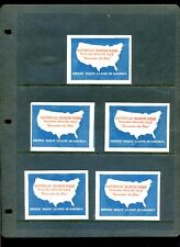 5 VINTAGE 1919 NATIONAL BLOUSE WEEK POSTER STAMPS (L887) UNITED WAIST LEAGUE USA