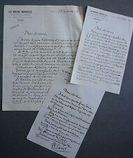 Raoul TOSCAN. 3 lettres signées de La Nièvre Nouvelle. Claude Rameau 1922.