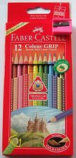 12 Faber-Castell Colour Grip Triangular Pencils with Gold Colour