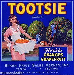 Tampa Florida Tootsie Orange Citrus Fruit Crate Label Print