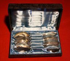 6 WMF Kaffee Löffel,90 Silberauflage Länge 14 cm, Fächerdesign im Etui