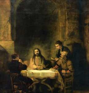 Oil painting Rembrandt Netherlands - Supper at Emmaus - Christ Jesus in night