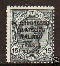 Italy Sc 142B MLH. 1922 15c slate w/ black ovpt.