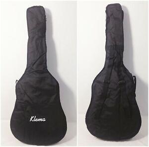 """Klema 40"""" 41"""" Acoustic Guitar Gig Bag Double Straps Soft Case Backpack Black"""