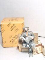 Emmett Kelly Jr. Clown Hobo Porcelain Reading Newspaper on Bench Figure Flambro