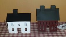 Primitive Tin Saltbox House Set, Burgundy & White, Metal, Rustic, Star Cut Out