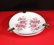 """Lovely Vintage 4.5"""" Ceramic Floral Ashtray w/Brass Ring Enoch Wedgwood Tunstall"""