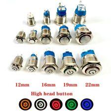 12 16 19 22 Mm Push Button High Head Switch 5v 12v 220v Lamp Self Locking Reset