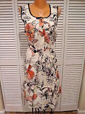 Adrianna Papell Women's Dress Chipper Better Ivory Floral Dress Black Trim Sz 12