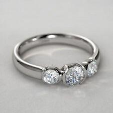 1.55ct 3 Moissanite Engagement Wedding Half Bezel Set Ring 925 Sterling Silver