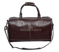 'HOLDALL' BROWN Large Weekend Duffle Travel Gym Real Genuine Glaze Leather Bag