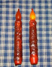 """2-6"""" Orange Cinnamon Grungy Fall Harvest LED Taper Candle Rustic Flameless Safe"""