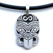 Polynesian Mask Totem Haka Tiki Symbol Hawaiian Maori Pendant W Black PVC Cord
