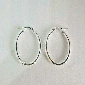 Sterling Silver Oval Plain Hoop Creole Earrings 3.3g NEW Xmas Gift Mum Wife 925