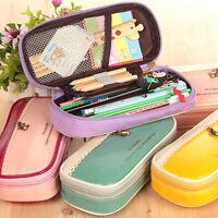 Hot Retro Leather Pencil Pen Case Cosmetic Makeup Coin Pouch Zipper Bag Purse