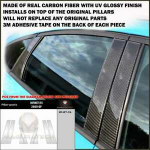FITS INFINITI FX / QX70 2009-19 REAL BLACK CARBON FIBER WINDOW PILLAR POST 8 PCS