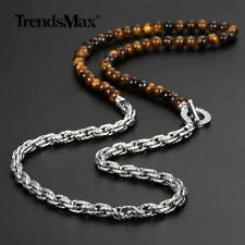 """6mm 28"""" Tiger Eyes Natural Stone Bead Necklace Stainless Steel Rope Link Chain"""