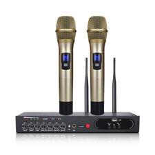 2 Channel UHF Wireless Handheld Microphone Bluetooth Karaoke Mic USB Echo Effect