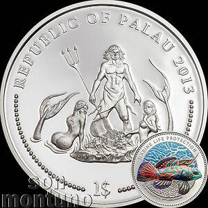 2013 Palau $1 MANDARIN DRAGONET FISH Marine Life Protection Ag Plated CuNi Coin