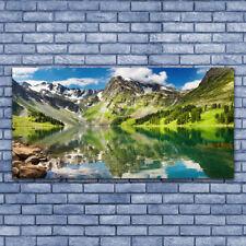 Tulup Wandbilder Glasbilder Dekobild 140x70 Berg See Landschaft
