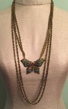 Marilyn Schiff Goldtone Enamel Butterfly Multistrand Necklace 29""