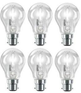 6 Pack Of Halogen Bulbs Classic BC 42w Warm White Clear Light Bulbs B22 New