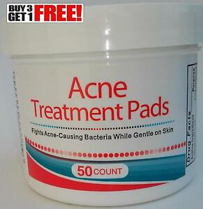 Acne Treatment Pads - 50 Count New In Box - Fights Ance While Gentle On Skin