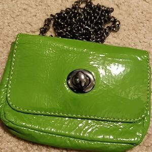 Hobo Opal Patent Leather Green Convertible Handbag Card Clutch Waist