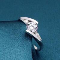 glänzende schmuck hochzeit frauen ring verlobung aus zirkon versilbert