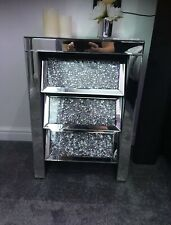 Roma Sparkly Mirrored Crushed Crystal Angled 3 Drawer Bedside Cabinet Table UK