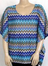 NEW Style & Co. PLUS 2X Kimono Sleeve Printed Zigzag Top FLAME BLUE