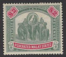 MALAYA FMS SG49 1907 $2 GREEN & CARMINE HEAVY MTD MINT
