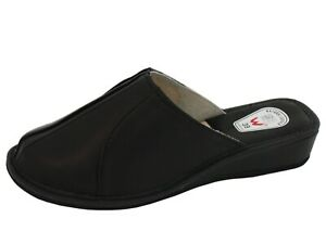 Womens Ladies Natural Leather Slipper Mules Size UK 2-8 EU 35-41