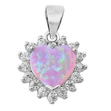 Lab Created Pink Opal  Heart with CZ .925 Sterling Silver Pendant